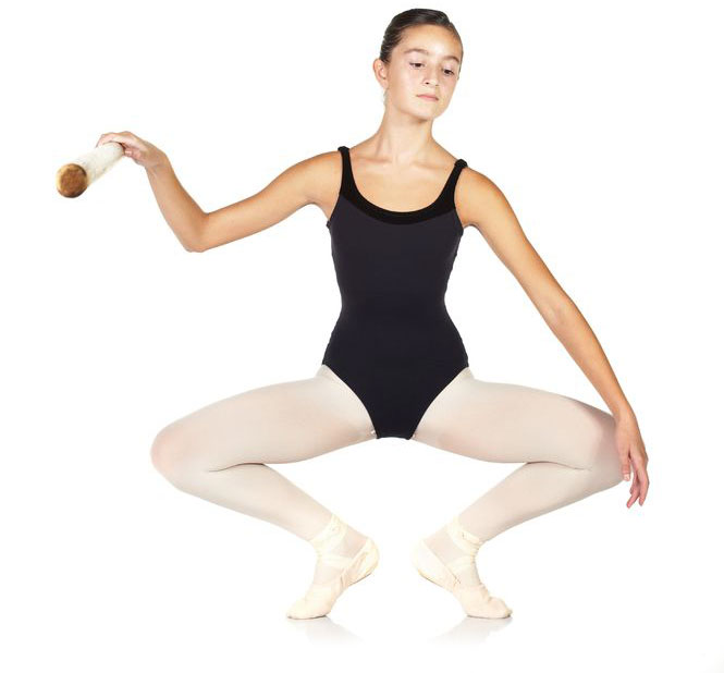 young girl doing ballet plie exercise