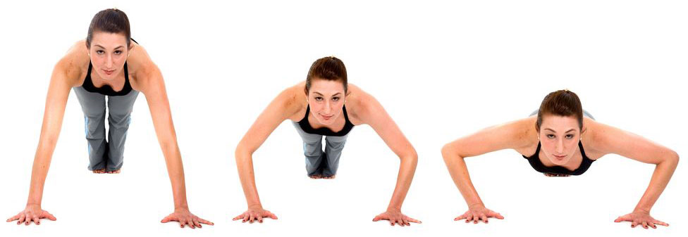 Woman doing push up exercises